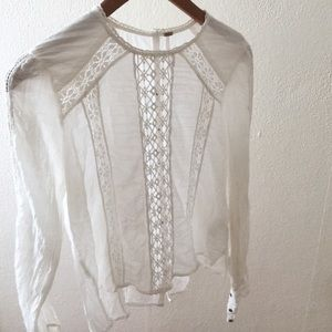 Free People New Romantics Cotton Lace Top, Sz S